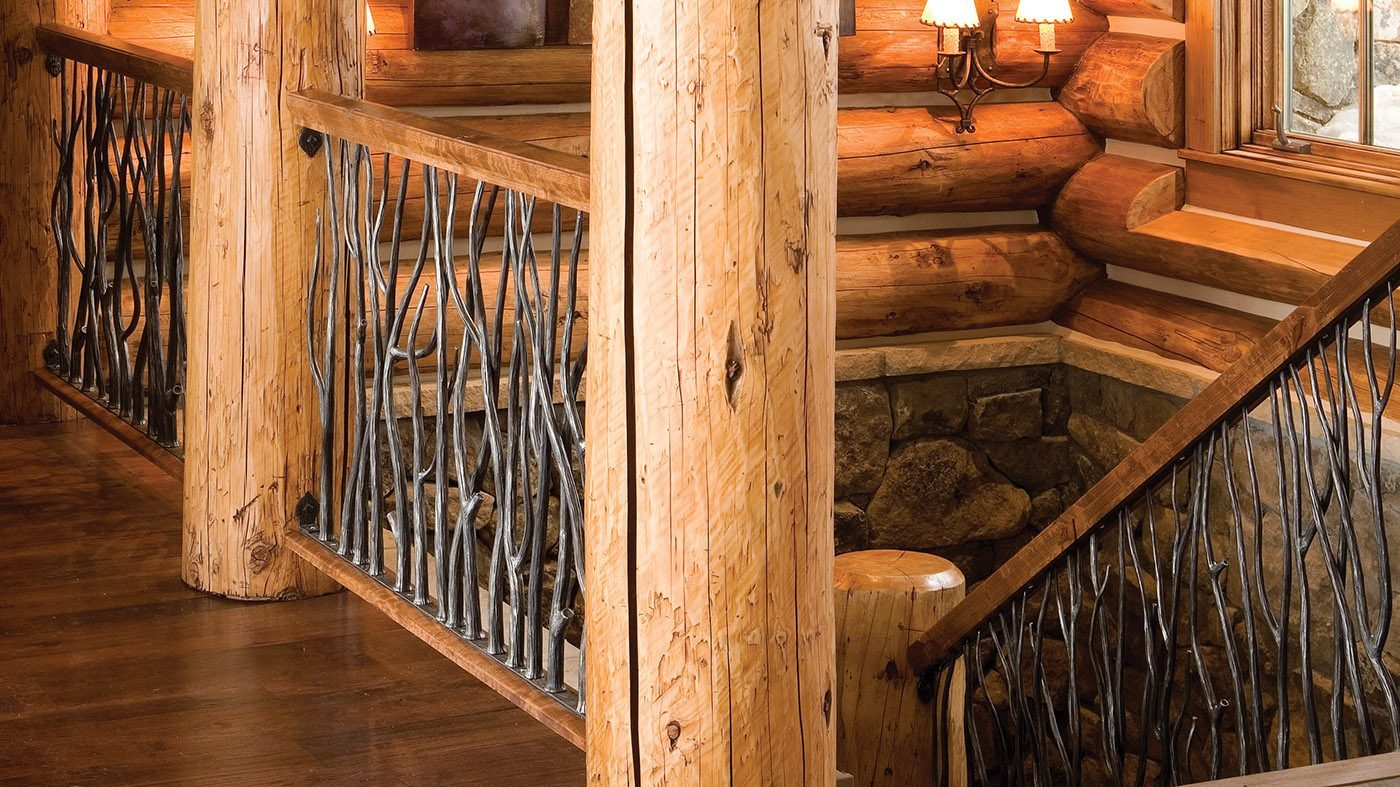 forged iron railing with tree branch texture